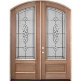 """8'0"""" Tall Oxford Mahogany Arch Top Prehung Double Wood Door Unit"""