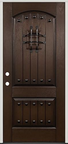 Rustic Pre-finished Espresso Fiberglass Prehung Door Unit with Speakeasy & Clavos