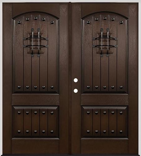 Rustic Pre-finished Espresso Fiberglass Double Door Unit with Speakeasy & Clavos