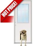 9-Lite Fiberglass Prehung Door Unit with Pet Door Installed