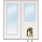 Full/Half Lite Fiberglass Patio Prehung Double Door Unit with Pet Door Installed