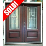 #Z008 Outswing Fleur-de-lis Pre-finished Fiberglass Double Doors