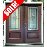 #Z008 Outswing Fleur-de-lis Pre-finished Fiberglass Double Doors