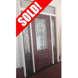 #Z009 3/4 Lite Pre-finished Mahogany Fiberglass Prehung Door Unit with Transom