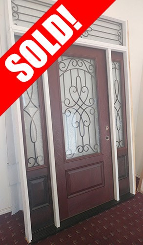 #Z009 3/4 Lite Pre-finished Mahogany Fiberglass Prehung Door Unit with Transom