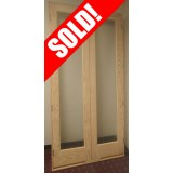 #Z010 4/0 x 8/0 Tall Full Lite Pine Interior Prehung Double Wood Door Unit