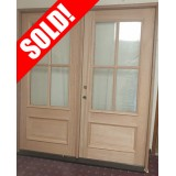 #Z011 4-Lite Mahogany Prehung Wood Double Door Patio Unit