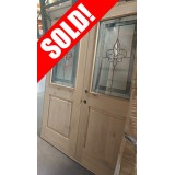 #Z012 Half Lite Fleur-de-lis Knotty Alder Wood Double Door Unit