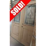#Z012 Half Lite Fleur-de-lis Knotty Alder Wood Double Door Unit