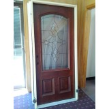 #Z014 3/4 Arch Mahogany Prehung Wood Door Unit #74