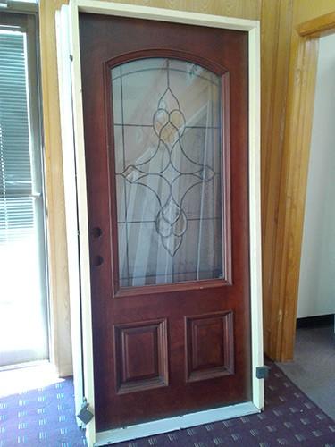 #Z014 3/4 Arch Mahogany Prehung Wood Door Unit #74