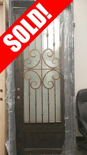 #Z016 Forte Iron Pre-hung Door with Hammered Glass & Cheap #Z016 Forte Iron Pre-hung Door with Hammered Glass