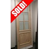 "#Z019 Knotty Alder 6-Lite with Aqua Texture Glass in 6-9/16"" Alder Jambs"