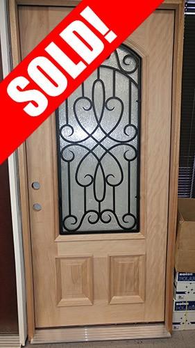 #Z020 2/3 Arch Grille Mahogany Prehung Wood Door Unit #A623FA