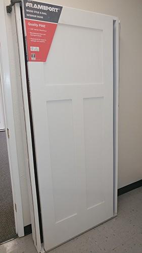 """#Z021 6'8"""" Tall Craftsman Shaker Primed Interior Wood Door Slab"""