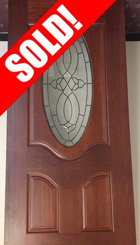 #Z030 3/4 Oval Prestained Mahogany Wood Door Slab #M86