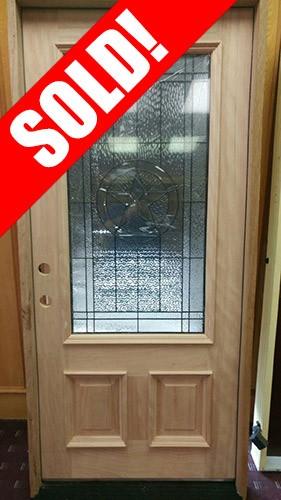 #Z034 Mahogany Star Glass Door with Mahogany Jambs