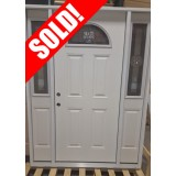 #Z035 Star Fan Lite Fiberglass Prehung Door Unit with Sidelites #FG35