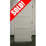 "#Z036 6'8"" Tall 3-Panel Shaker Primed Interior Prehung Wood Door Unit #PR-3PS-PH"