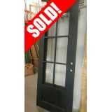 #Z038 40x98 Iron Door 6-Lite Tiffany with Aquatex Glass
