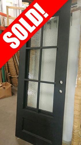 #Z038 40x98 Iron Door 6-Lite Tiffany with Aquatex Glass