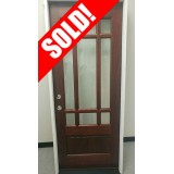 "#Z045 32"" Wide 9-Lite Mahogany Prehung Wood Door Unit #32"