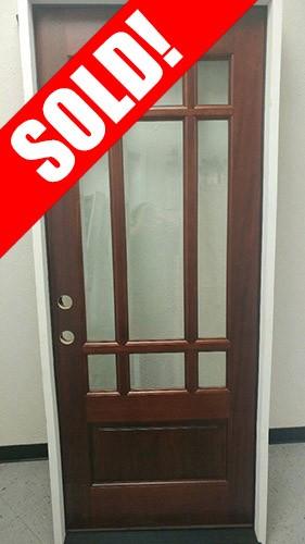 """#Z045 32"""" Wide 9-Lite Mahogany Prehung Wood Door Unit #32"""