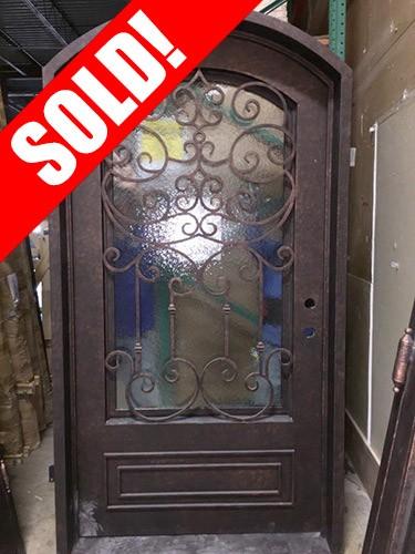 #Z052 Iron Door Arch Top with Aquatex Glass