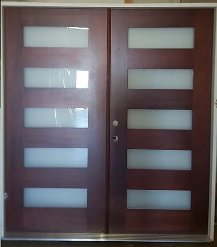 """#Z101801 6'0"""" Modern 5-Lite Mahogany Double Door (RH)"""