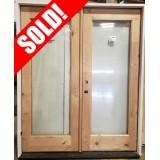 "#Z101901 5'4"" Knotty Alder Full Lite Patio Door Unit"
