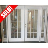 "#Z111803 8'0"" wide 15-Lite Fiberglass Patio Double Door Unit with Sidelites"