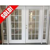 """#Z111803 8'0"""" wide 15-Lite Fiberglass Patio Double Door Unit with Sidelites"""