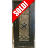 "#Z111808 37"" x 81"" Texas Star Iron Door with Hammered Glass"