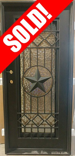 """#Z111808 37"""" x 81"""" Texas Star Iron Door with Hammered Glass"""