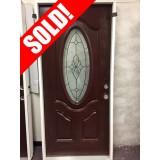"#Z111809 3'0"" 3/4 Oval Prefinished Mahogany Fiberglass Prehung Door"