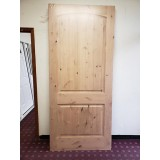 "#Z111813 42"" x 8'0"" Knotty Alder 2-Panel Arch V-Groove Slab (Scratch'n'Dent)"