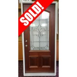 """#Z111903 36"""" 3/4 Arch Mahogany Door w/Fleur-De-Lis Glass"""