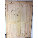 "#Z121801 4'8"" x 6'8"" Knotty Pine 2-Panel Arch V-Groove French Interior"