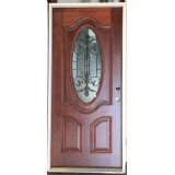 "#Z21805 36"" 3/4 Oval Mahogany Prehung (w/internal iron grille)"