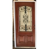 "#Z21806 36"" 3/4 Arch Mahogany Prehung (w/internal iron grille)"