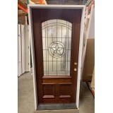 "#Z22002 36"" Texas Star 3/4 Arch Mahogany Prehung Door with 6-9/16"" primed jambs"