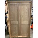 #Z22003 4-8 6-8 Clear Pine Shaker Double Interior Prehung Door