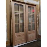 #Z22007 5-4 8-0 Preston 6-Lite Low-E 1-Panel Mahogany Prehung Wood Double Door