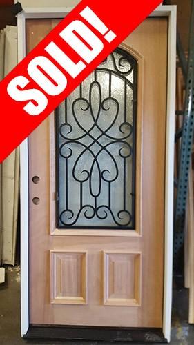 "#Z31801 36"" 2/3 Arch Grille Mahogany Wood Door Prehung"