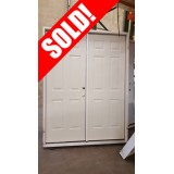 "#Z31807 5'0"" 6-Panel Primed Steel Patio Prehung Double Door"