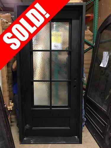 #Z31808 Iron Door 6-Lite Square Top Tiffany