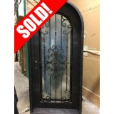 #Z31809 Iron Door Radius Top with Aquatex Glass