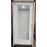 "#Z31811 36"" 6'8"" Tall Mini-blinds Full Lite Fiberglass Prehung Door"