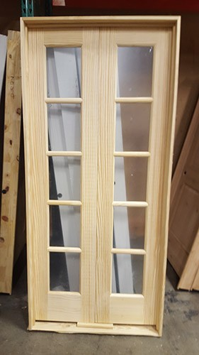 "#Z31813 36"" 5-Lite Double Pine Interior Door"
