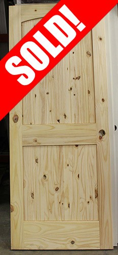 """#Z41805 28"""" and 30"""" Knotty Pine 2-Panel Arch interior slabs with bore"""